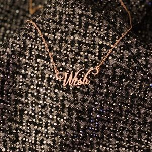 """Wish"" 14k Rose Gold Plated Silver Necklace"